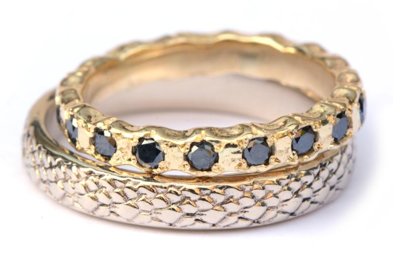 Trouwringenset witgoud en zwarte diamant