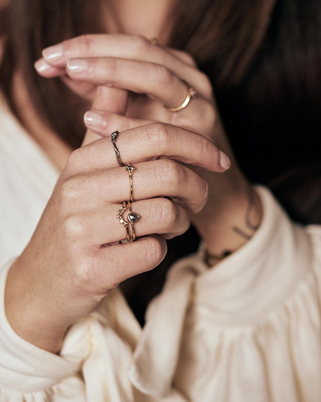 Cate Adriana with Nadine Kieft Jewelry rings