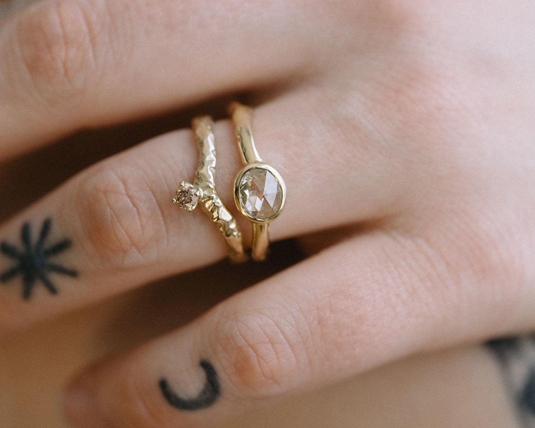 Ring met roosdiamant