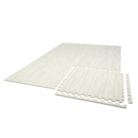 Einzelne Puzzle-Bodenfliesen. Whitewash-Look (60 x 60 x 1,2 cm)