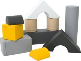 Schaumstoffblöcke Set mit 10 Softplay-Elementen (schwarz, weiß, grau, gelb)
