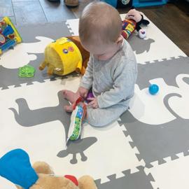 Spielmatte Tiere Creme-Grau (4 x 60 x 60 x 1,2 cm)