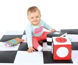 Schaumblockwürfel/Schaumstoffwürfel (schwarz-weiß oder rot-schwarz-weiß) 15 x 15 cm