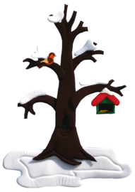 Wanddekoration Birnenbaum - im Wandel der 4 Jahreszeiten (60 x 100 cm)
