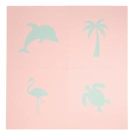 """Spielmatte """"Tropical""""  Lachsrosa-Eiblau oder Eiblau-Lachsrosa (4 x 60 x 60 x 1,2 cm)"""