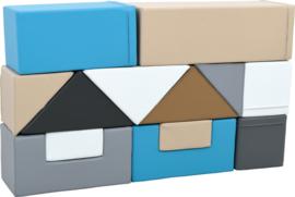 Schaumstoffblöcke Set mit 13 Softplay-Elementen (schwarz, weiß, grau, beige, blau)