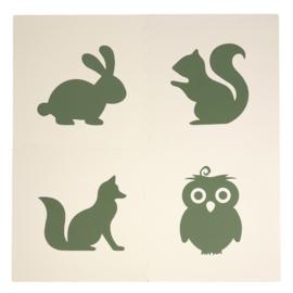 Spielmatte Tiere Grün-Cremeweiß oder Cremeweiß-Grün (4 x 60 x 60 x 1,2 cm)
