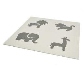 Spielmatte Tiere Grau-Weiß oder Weiß-Grau (4 x 60 x 60 x 1,2 cm)