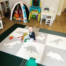 Spielmatte Dinosaurier Weiß-Grau (4 x 60 x 60 x 1,2 cm)