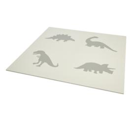 Spielmatte Dinosaurier Grau-Weiß oder Weiß-Grau (4 x 60 x 60 x 1,2 cm)