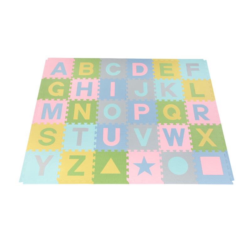 Spielmatte Alphabet/Figuren 2,86 m² PASTEL / 30-teilig (30 x 30 x 1,2 cm)