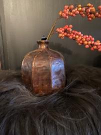 Bottle vaas bruin metaal