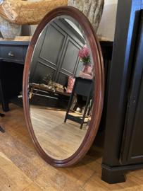 Brocante ovale spiegel facet geslepen