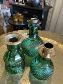 Groep kandelaars groen glas
