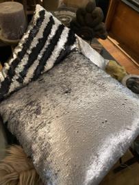 Kussen Paillette Zwart Zilver