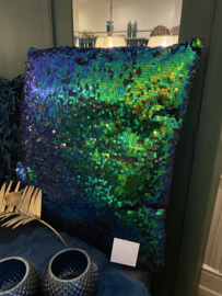 Kussen pailletten 60x60 blauw groen