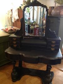 Antieke grote kaptafel, brocante zwarte make-up tafel