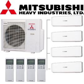 Mitsubishi inverter airco SCM100ZM-S 10,0kW Multi split 4x SRK25ZS-W 2,5kW
