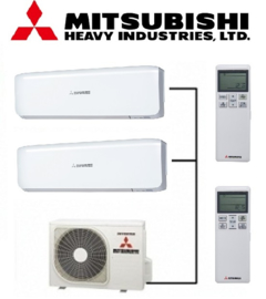Mitsubishi inverter airco SCM40ZS-W 4,0kW Duo split 2x SRK20ZS-W 2,0kW binnenunit