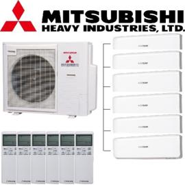 Mitsubishi inverter airco SCM125ZM-S 12,5kW Multi split 6x SRK20ZS-W 2,0kW binnenunit