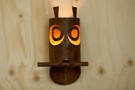 Waxinelicht uiltje voor aan muur of schutting