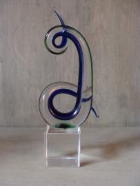Glas sculptuur groen/blauw
