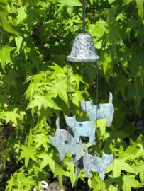 Windgong brons met poezen