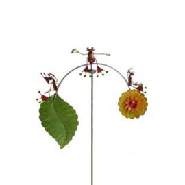 Windspel Medusa Kikkers met bloem en blad rood