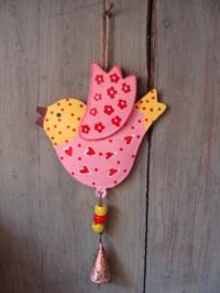 Vogeltje roze/geel met belletje