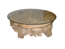 Salontafel root wrakhout rond
