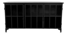 Dressoir Manhattan- metaal/glas - zwart