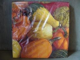 Herfstservetten met gekleurde kalebassen