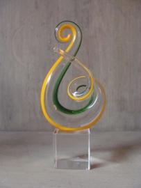 Glas sculptuur geel/groen