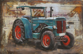 3D schilderij Tractor blauw