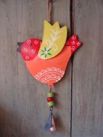 Vogeltje oranje/geel met belletje