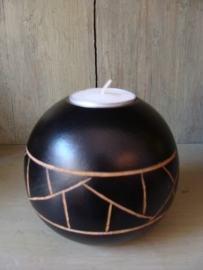 Waxinelicht in bolvorm met mozaïek patroon klein