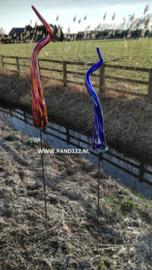 Tuinsteker glaskrul blauw/wit