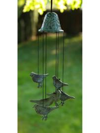 Windgong brons met vogeltjes