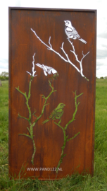 Tuinscherm van staal met mezen