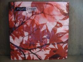 Herfstservetten met rode bladeren