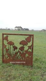 Tuinscherm met paardenbloemen