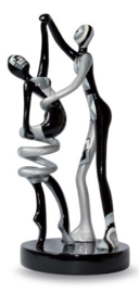 "Couple""Twisting"" white-black-silver"