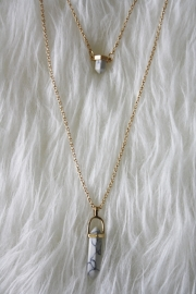 Marble Double Stone Necklace