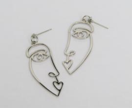 Silver Face Earrings