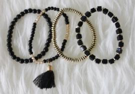 Black Pompon Bracelet Set