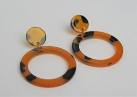 Dark Orange and Black Earrings