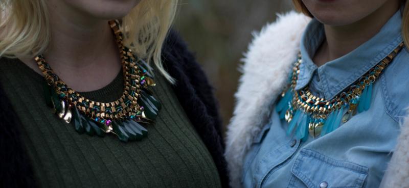 Blue Necklace Gold