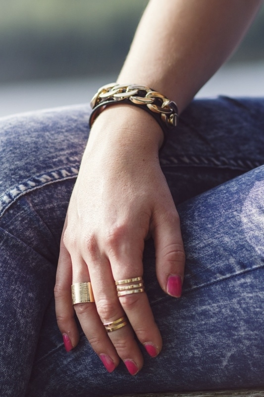 Gold Chain Leather Bracelet