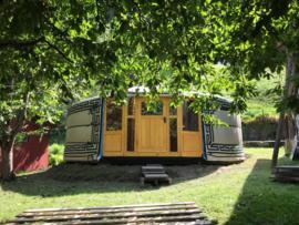 5-muurs Yurt met deurpaneel met 5 raampjes en  half grote raampanelen