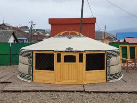 6-muurs Yurt met deurpaneel met 3 raampjes en 2 grote raam panelen